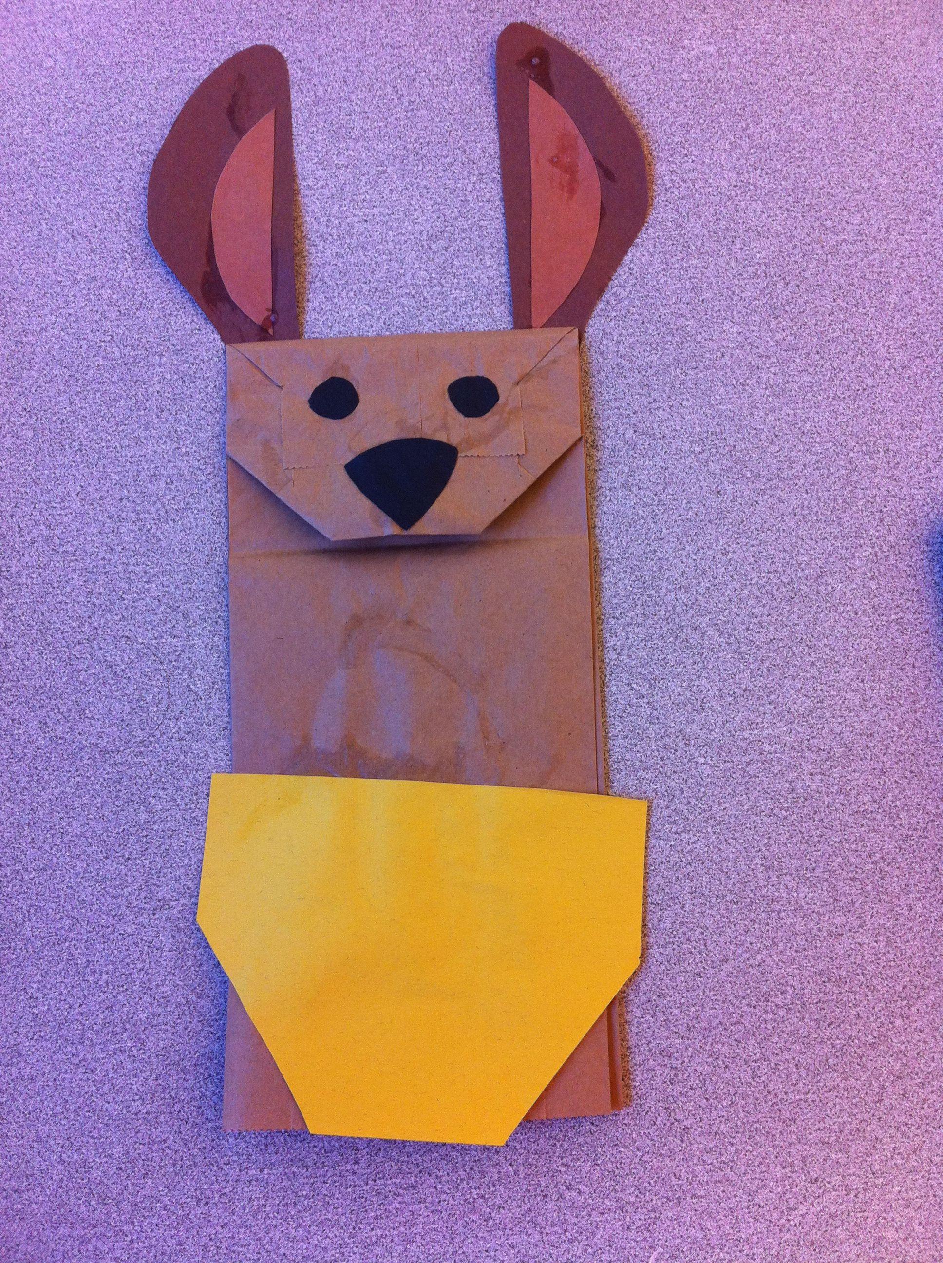 kangaroo paper bag puppet preschool curriculum pinterest