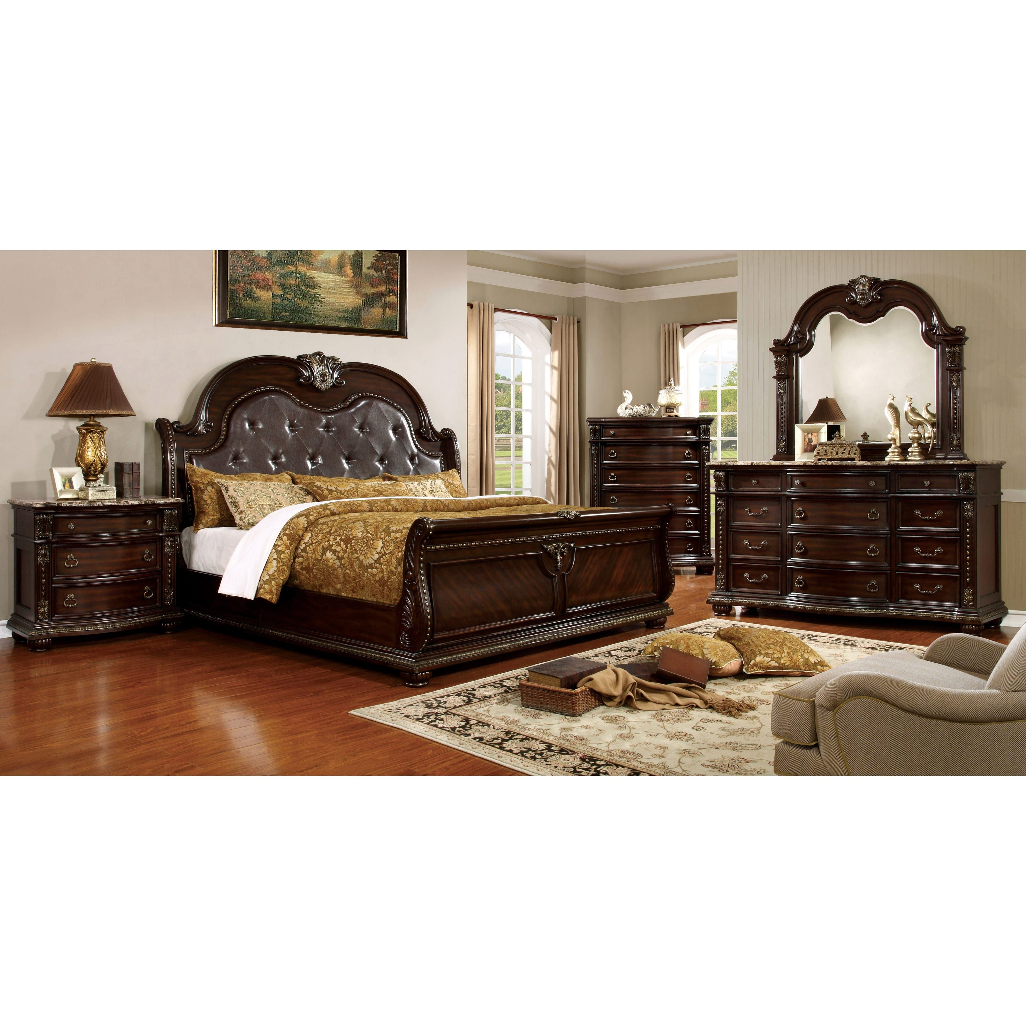 marble top bedroom furniture%0A Furniture of America Goodwell Traditional Brown Cherry Tufted Leatherette  Camelback Sleigh Bed   Overstock com