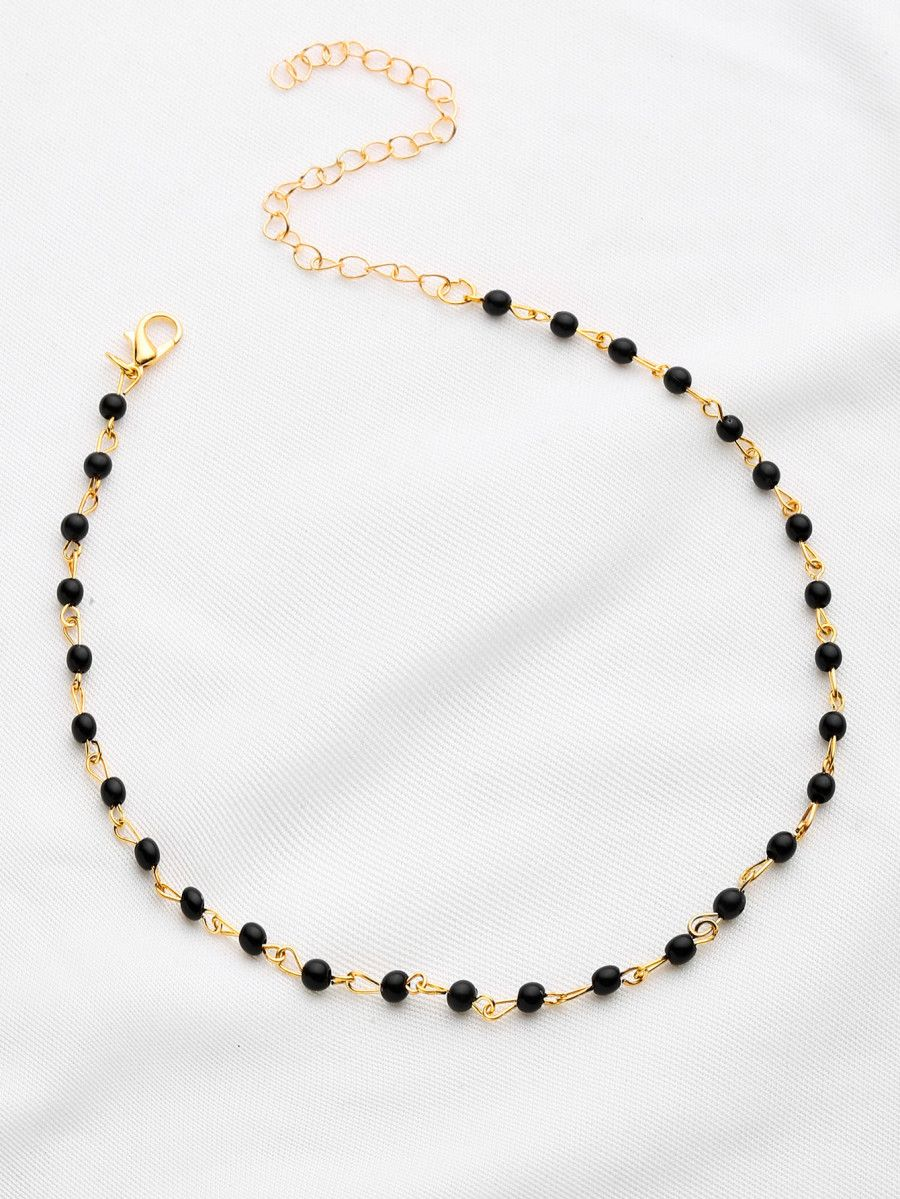 Contrast beaded delicate necklace sheinsheinside clothing wish