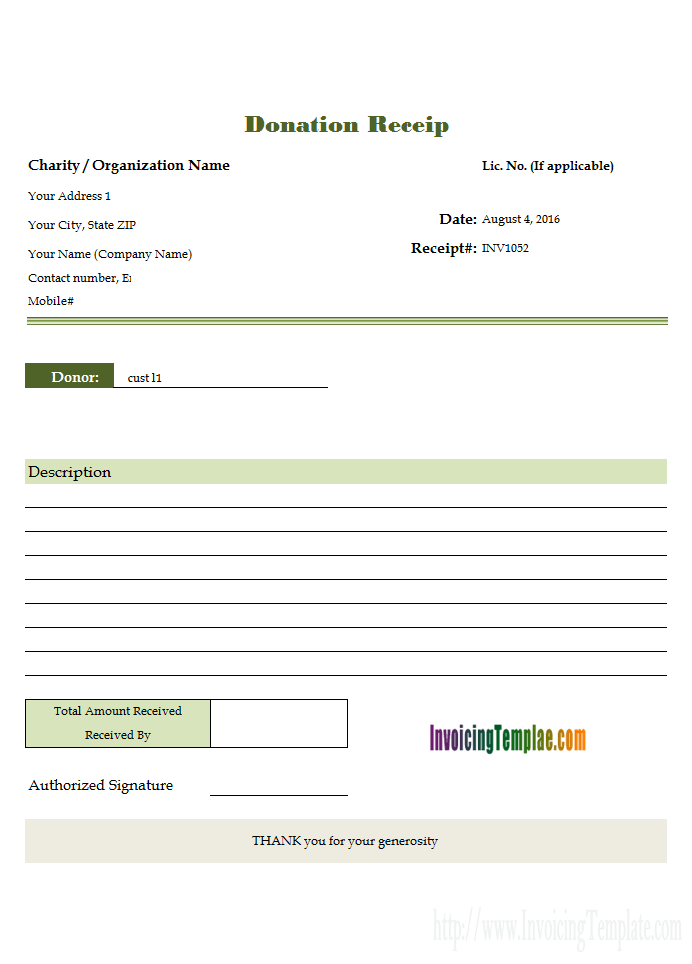 Donation Receipt Template For Excel Invoice Template Receipt Template Invoice Template Word