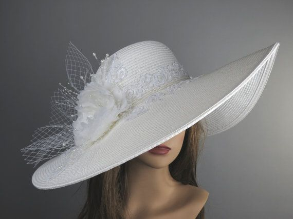 Off White Church Wedding Hat Head Piece Kentucky Derby Bridal Coctail Couture Fascinator