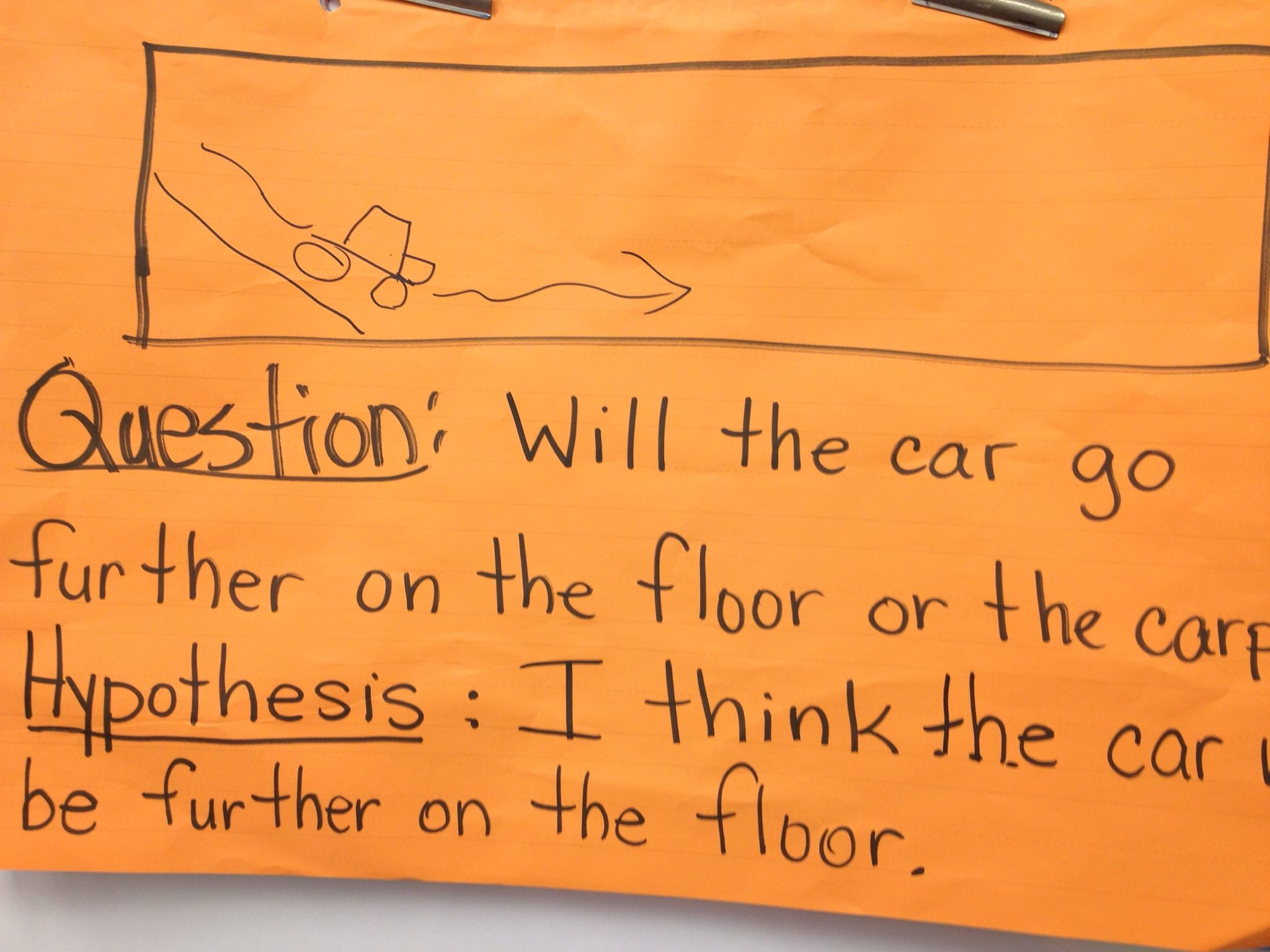 Example of a question and hypothesis for scientific information