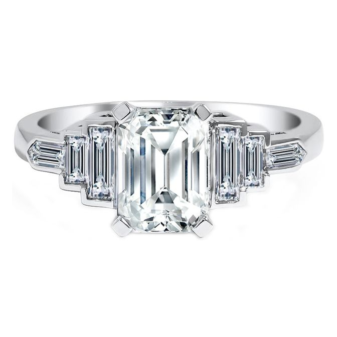 Engagement Ring -Baguette & Bullet Cut Diamond Eng