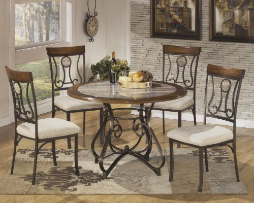 amazon: hops 4pc round dining table and chair set: furniture