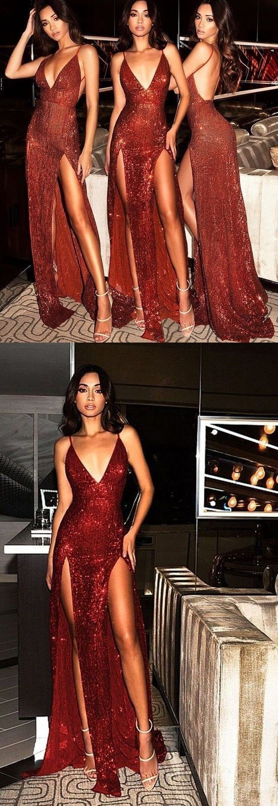 Sparkly prom dresses burgundy vneck long prom dress with slit sexy