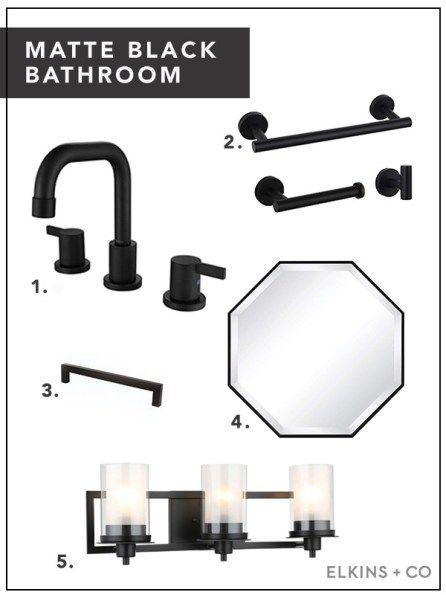 Matte Black Bathroom Accents Under $100 | Elkins + Co