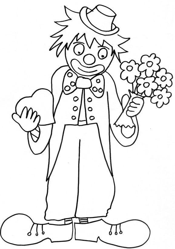 Coloriage d 39 un clown au coeur et bouquet de fleurs coloriages dessin clown coloriage et - Tete de clown a imprimer ...
