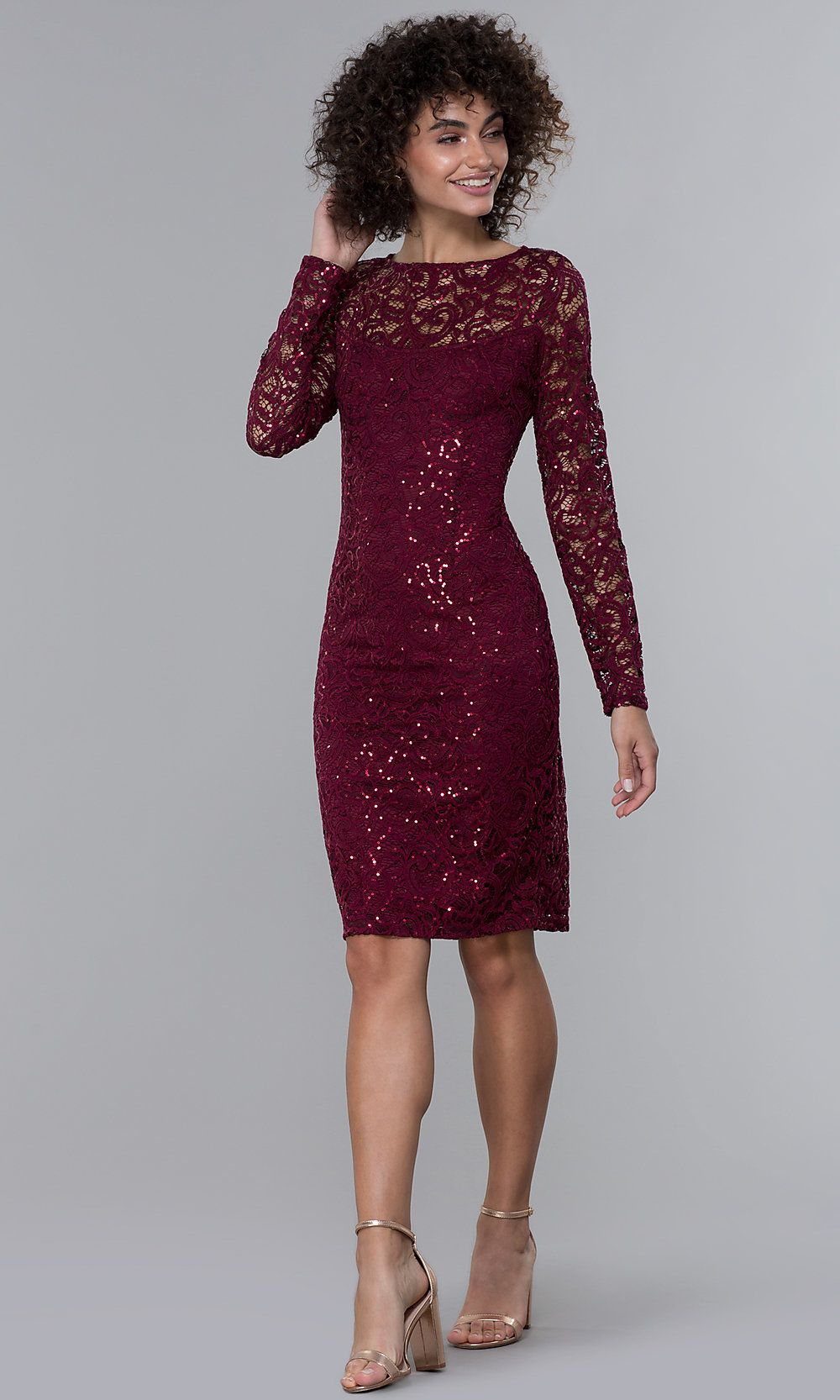 Longsleeve sequinlace short wine red party dress in 2020