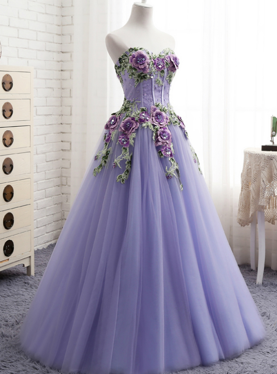 A Line Purple Tulle Embroidery Appliques Sweetheart Neck Prom Dress P3798 Ball Dresses Gowns Purple Prom Dress [ 1280 x 947 Pixel ]