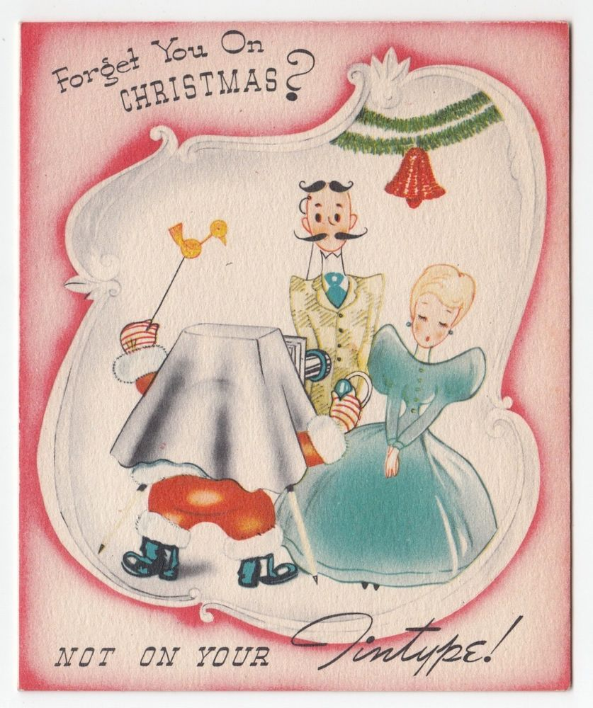 Vintage Greeting Card Christmas Old Fashioned People Santa Claus