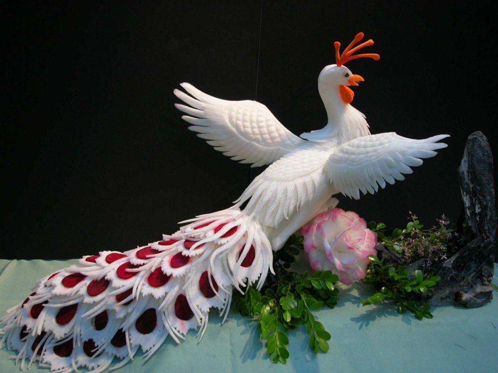 Fruit carving vegetable carving peacockg pixels
