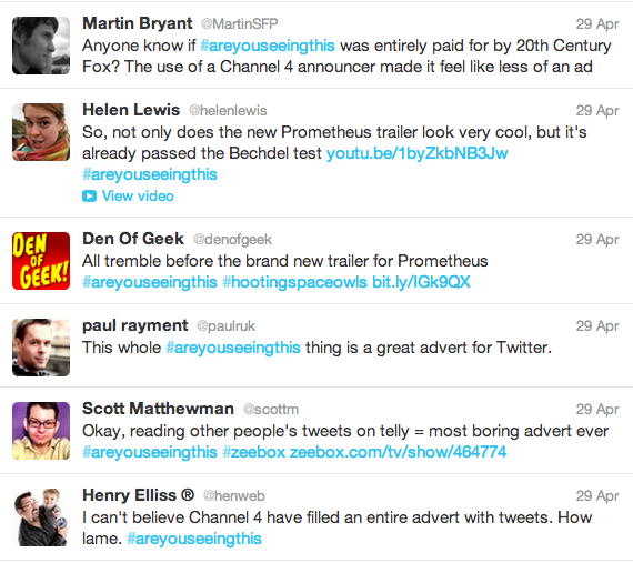 20th Century Fox took advantage of the viral power of Twitter to promote the release of Ridley Scott's sci-fi movie Prometheus
