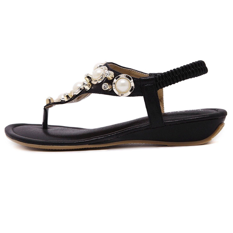 50ac8b902 Meehine Women s Elastic Sparkle Flip Flops Summer Beach Thong Flat Sandals  Shoes     Want