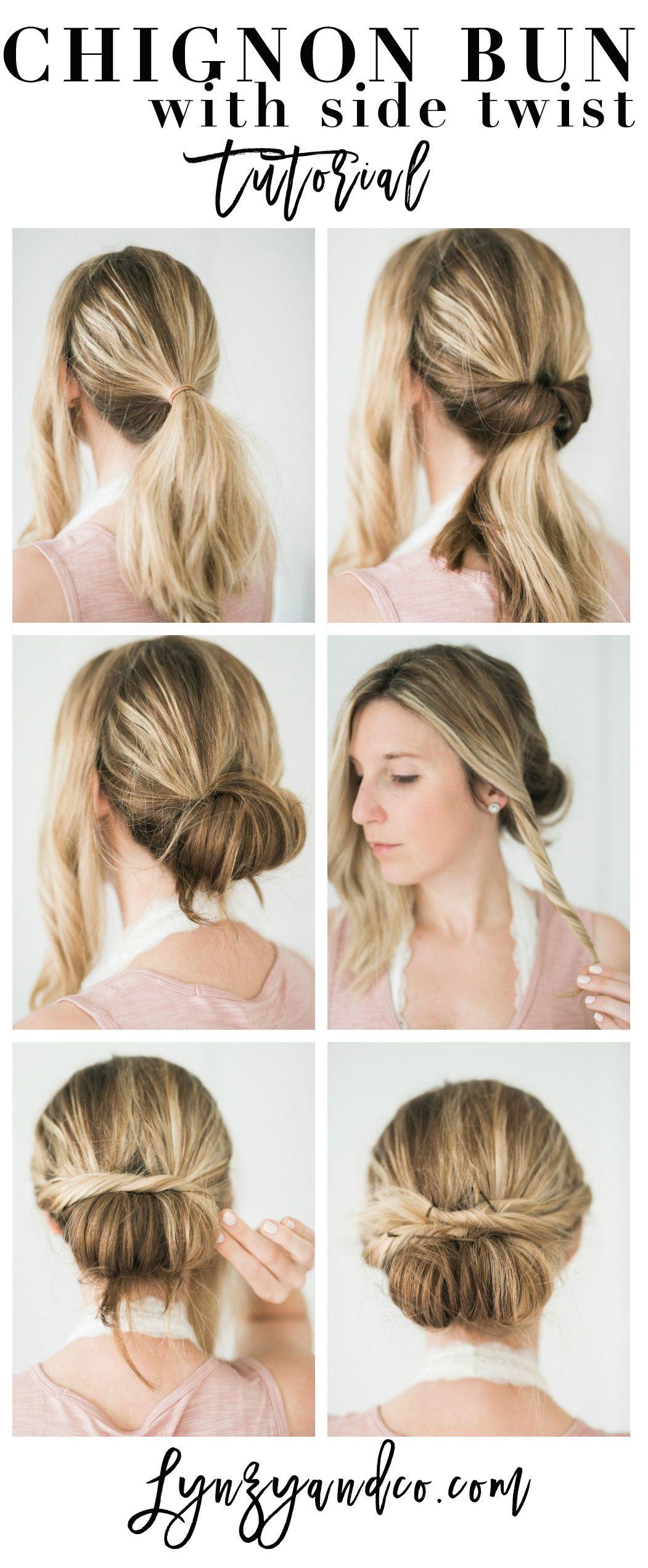 Simple hair tutorial chignon bun with twist easy hair tutorials