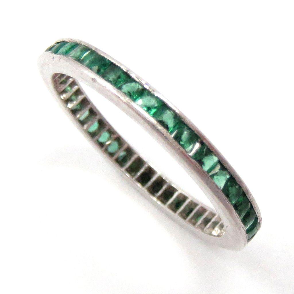 347efc092d531 Wedding Band Eternity Ring Platinum French cut Emerald 1940s Vintage ...
