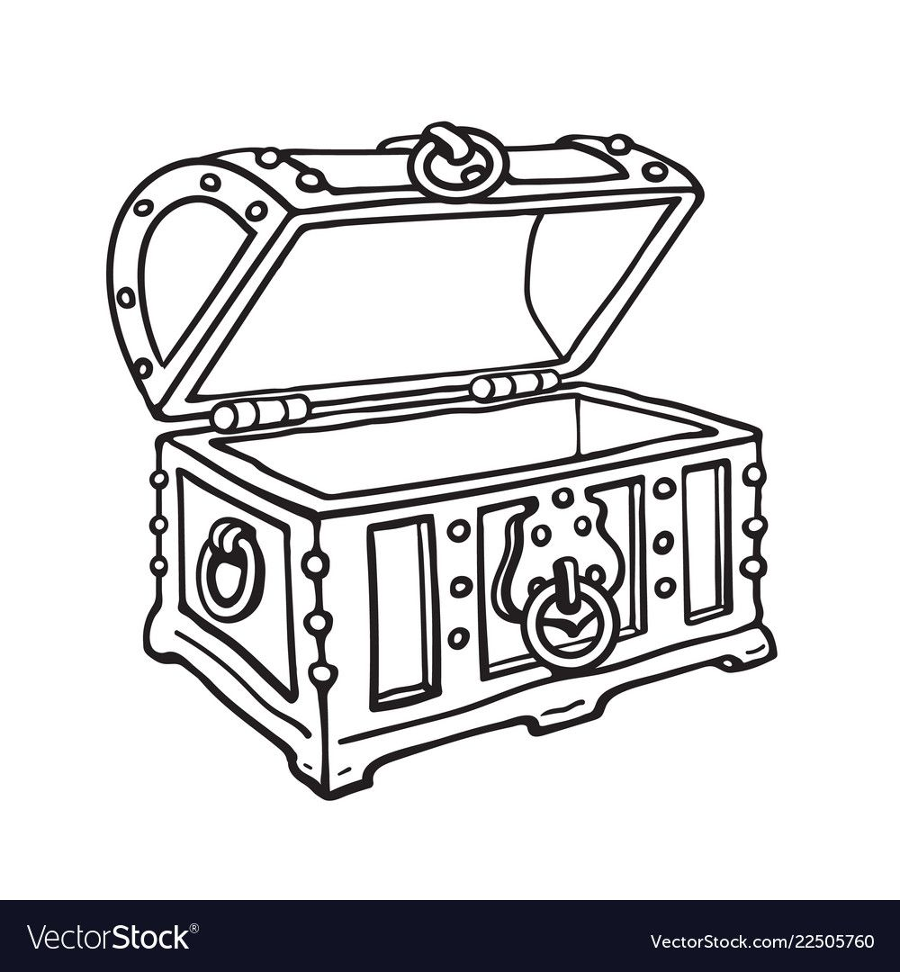 Empty Pirate Treasure Chest Open Wooden Trunk Vector Image On