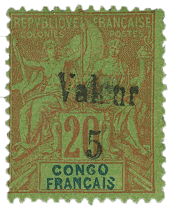 French Congo 5c on 20c Red on Green, 1900 stamp in 2020