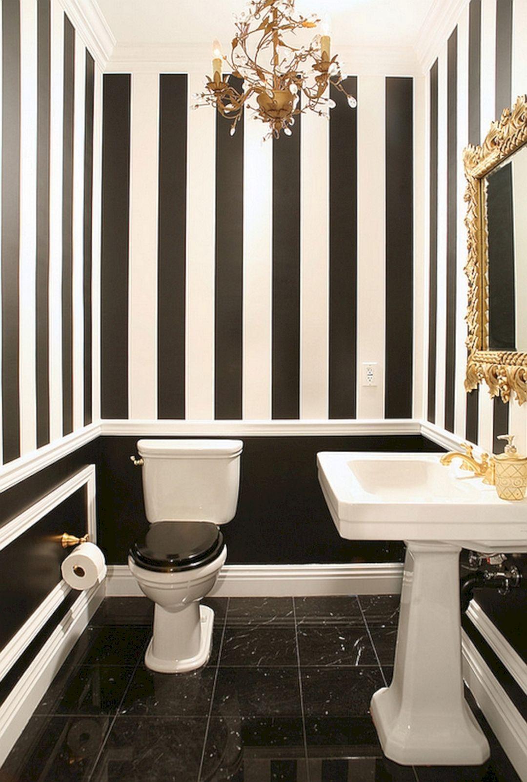 Black And White Gold Powder Room Ideas Black And White Gold Powder Room Ideas Design Ideas And Photos Bathroom Color Schemes Bathroom Inspiration Black And White Decor