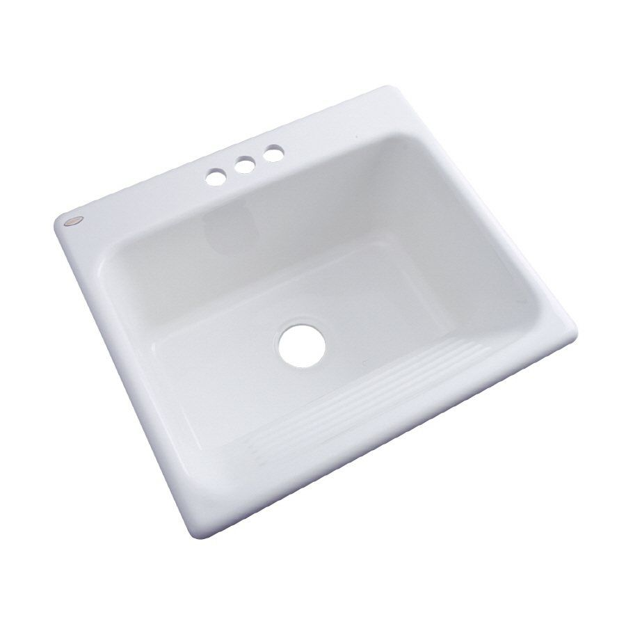 Superieur Dekor Natural Stone Composite White Self Rimming Composite Granite Laundry  Sink