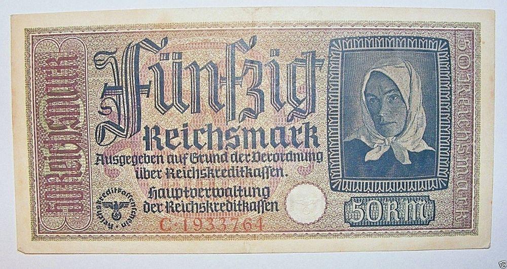 Germany 50 Reichsmark WWII Occupied Territories Reichskreditkassen C Series XF