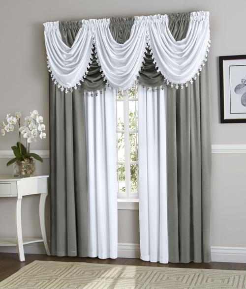 White Grey Hyatt Curtain Set Each Hyatt Curtain Set Contains 4 Curtain Panels And 5 Waterfall Valances Shown On