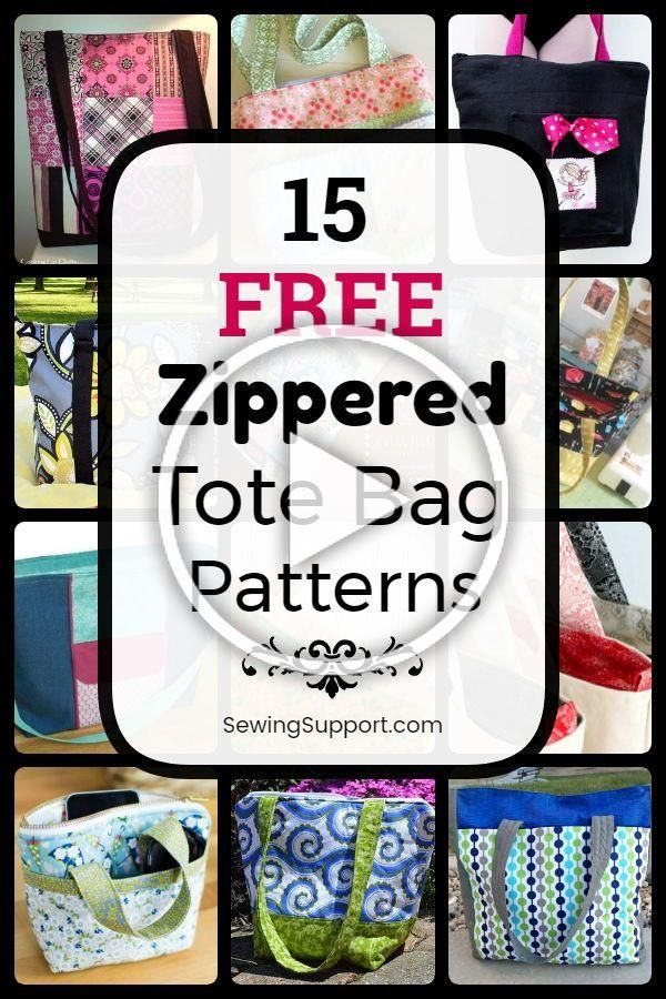 Tote Bag Patterns with Zippered tops 15 free zippered tote bag patterns tutorials and diy sewing projects Large small and sturdy lined tote bag styles Great for kids and...