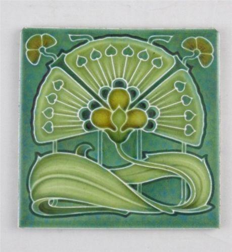 Superb Antique Art Nouveau Tile By Cleveland Co C1905 Free Uk Postage Ebay