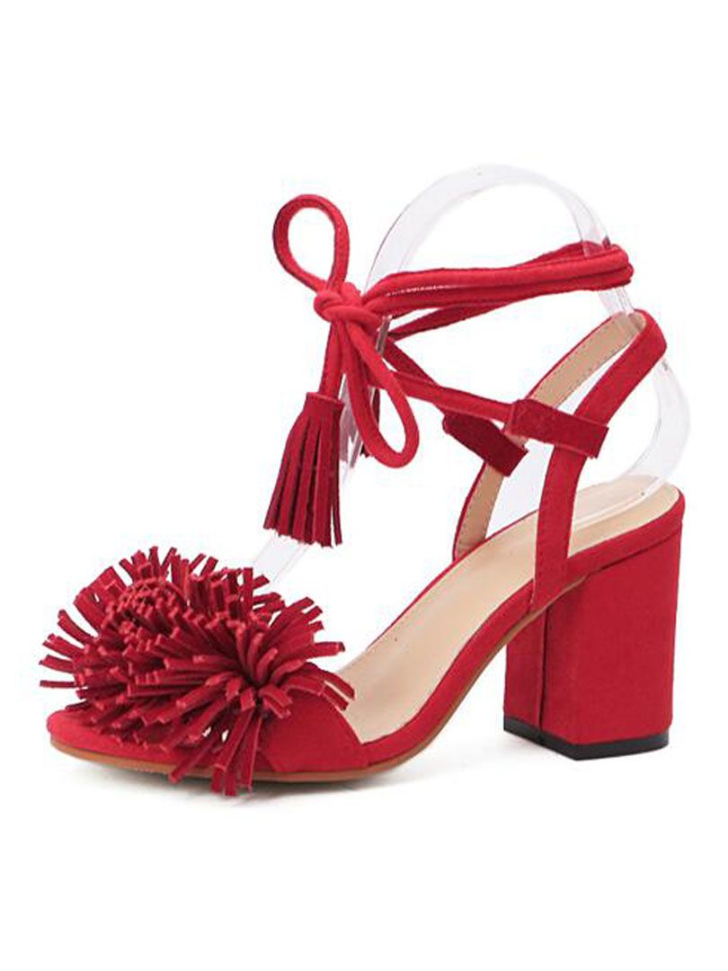 426ddc516af Red Tassel Detail Ankle Lace Up Block Heeled Sandals