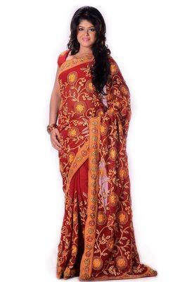 Orange Georgette Resham Zari Stone And Patch Bordered Saree. Sarees on Shimply.com
