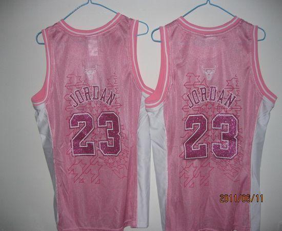 Bulls #23 Michael Jordan Pink Women Fashion Embroidered NBA Jersey ...