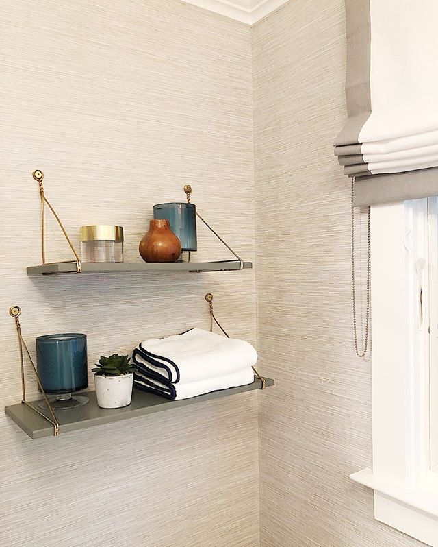L S I N T E R I O R S Lindsaysaccullointeriors Gray Bathroom Shelving Open Shelving Over Toilet Small In 2020 Grey Bathrooms Bathroom Styling Beige Bathroom
