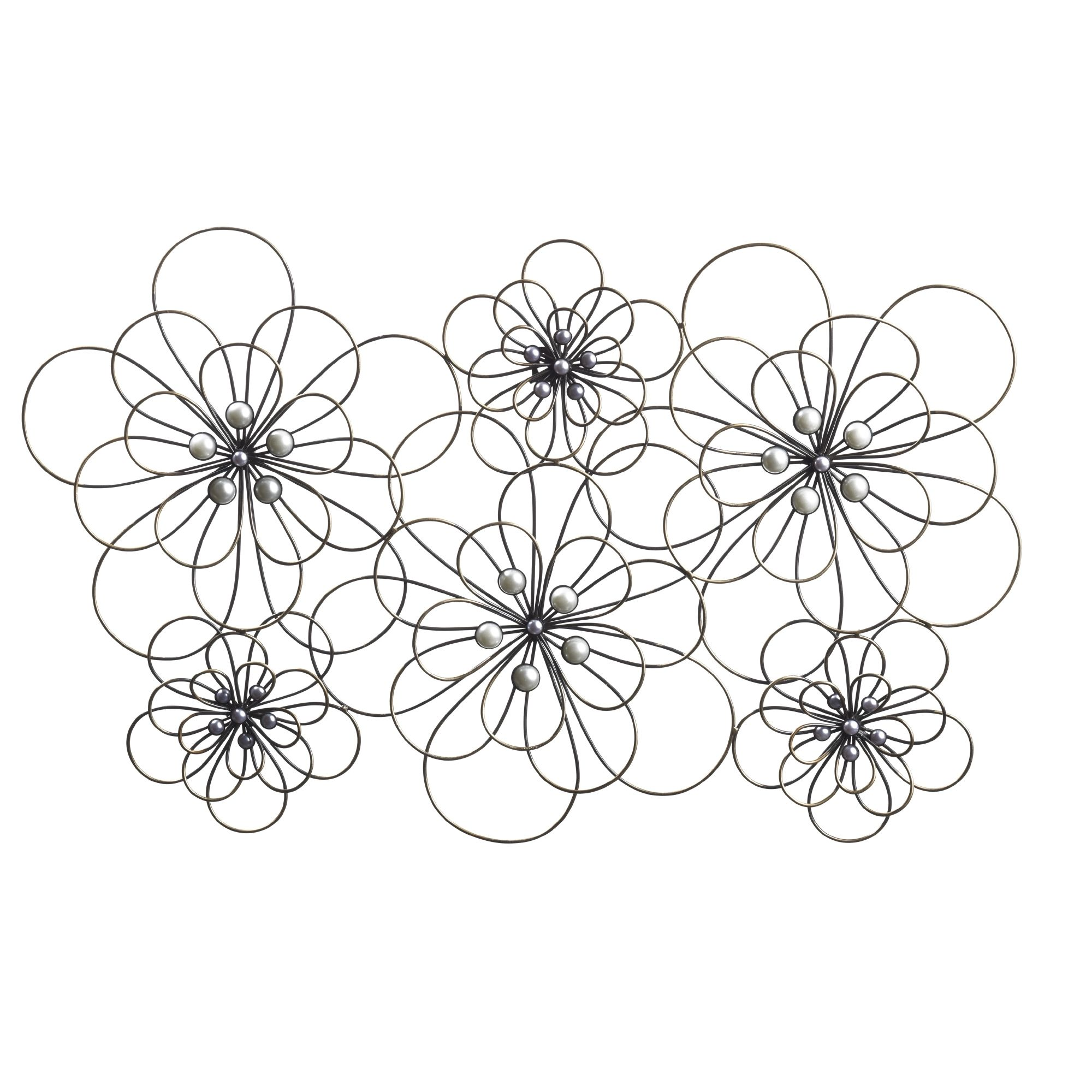 This Elements wire flowers metal wall decor features a striking pinwheel design that is sure to capture the eye. The collage of large wire frame flowers is accented with pearlized beads for a subtle and sophisticated look.