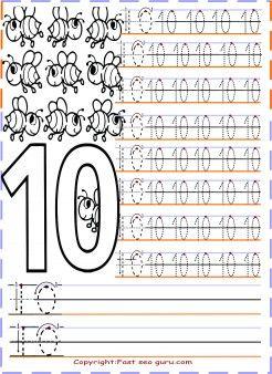 Numbers tracing worksheets 10 for preschool - Printable Coloring ...
