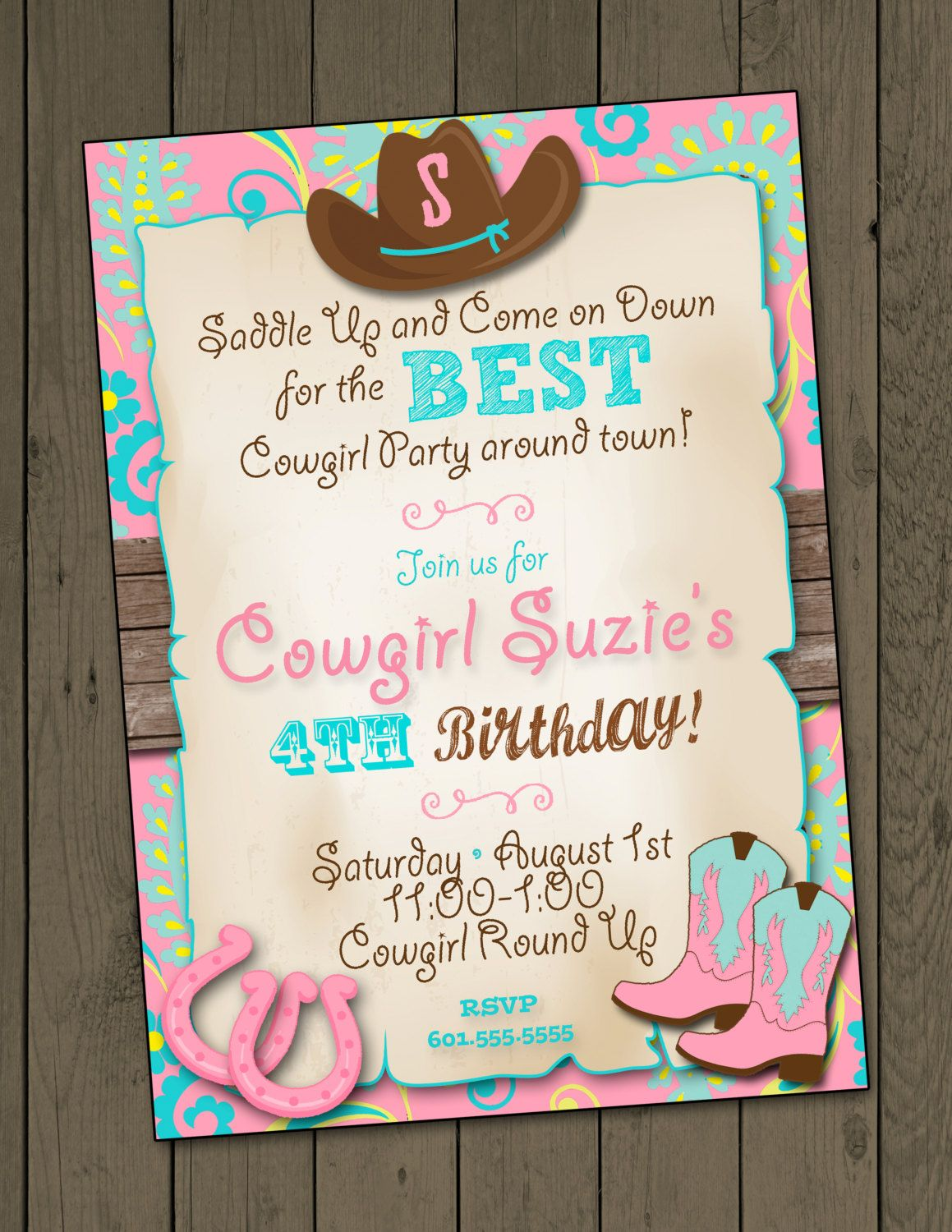 Cowgirl Invitation Cowgirl Birthday Party Invitation Cowgirl Party ...
