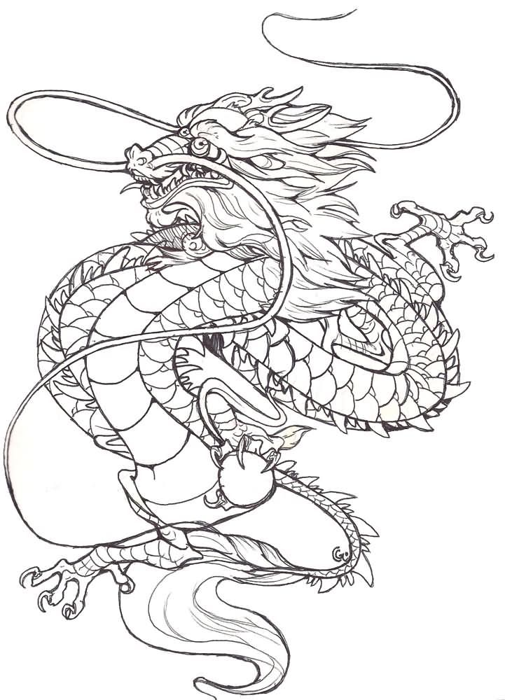 japanese dragon coloring pages - classic black outline chinese dragon tattoo design