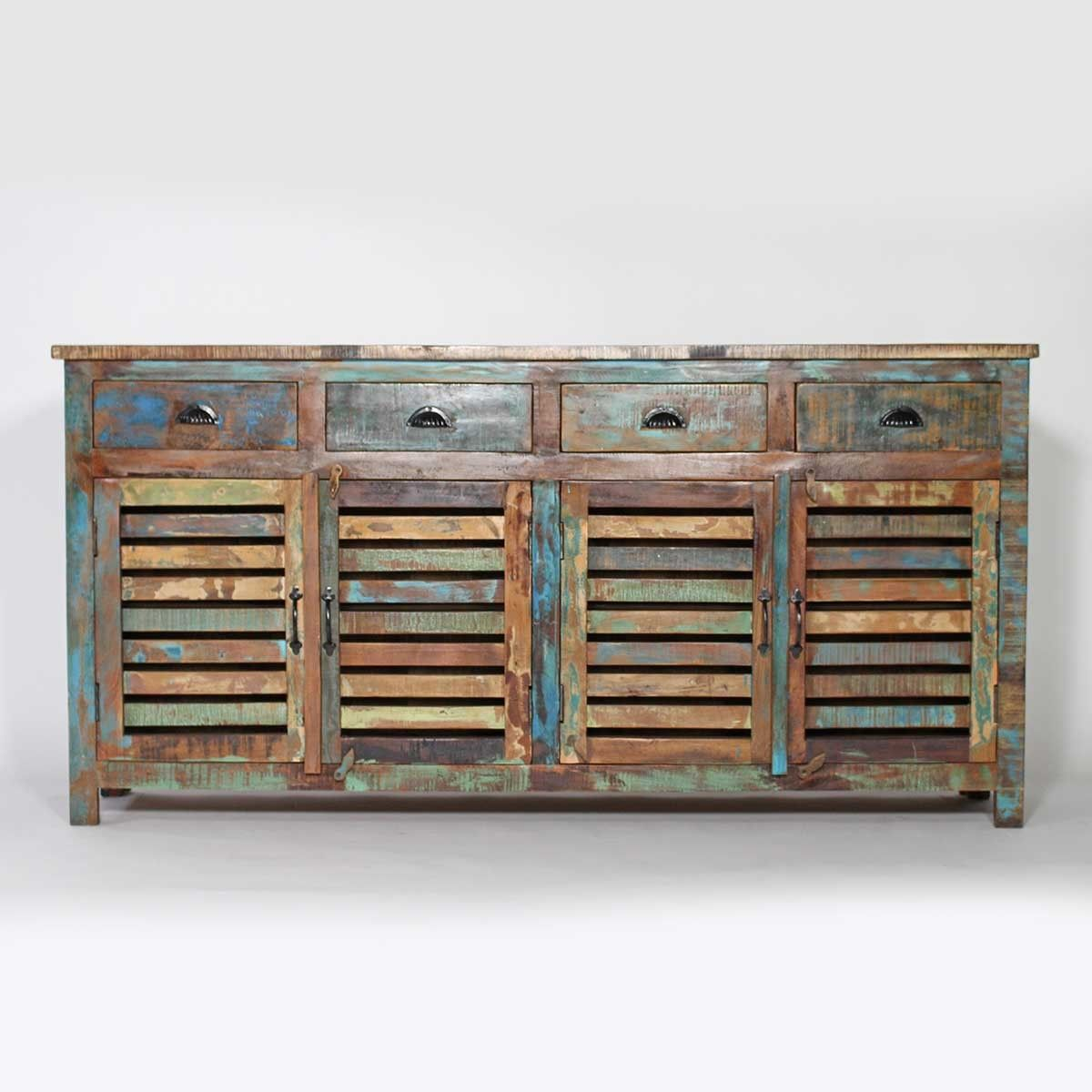 Grand Buffet En Bois De Manguier Recycl D Co D Coration  # Meuble Recuperation Bois Et Metal