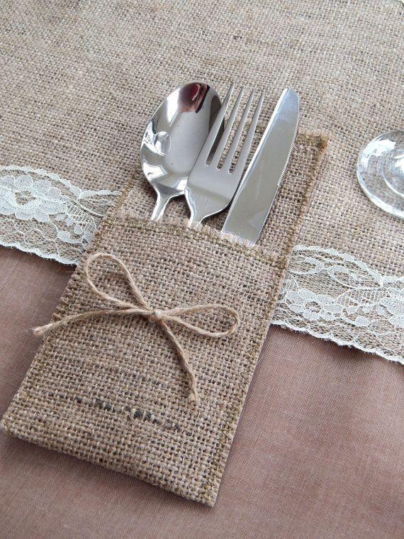 Rustic Burlap Cutlery Holders Wedding Table