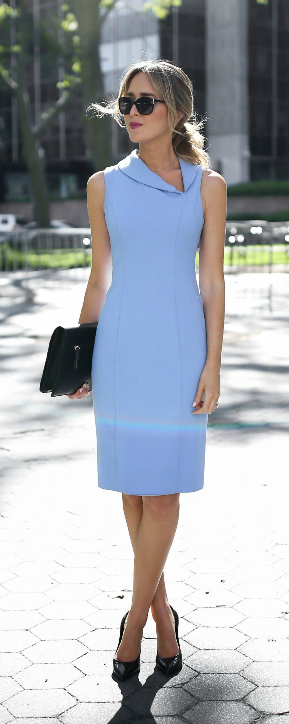 f1bffed065 classic periwinkle blue knee length sheath dress with asymmetrical shawl  collar neckline // summer business formal workwear, office style