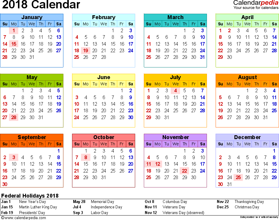 template 8 2018 calendar for pdf year at a glance 1 page in color landscape orientation