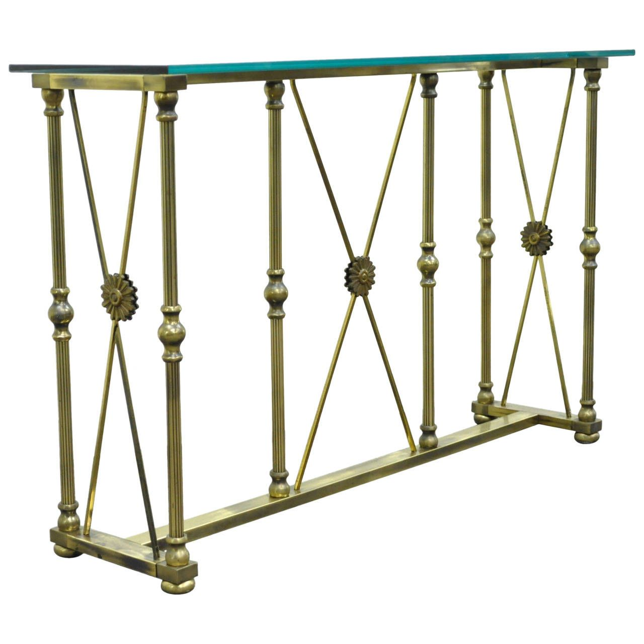 Mastercraft X Form Brass and Glass Console Table in the