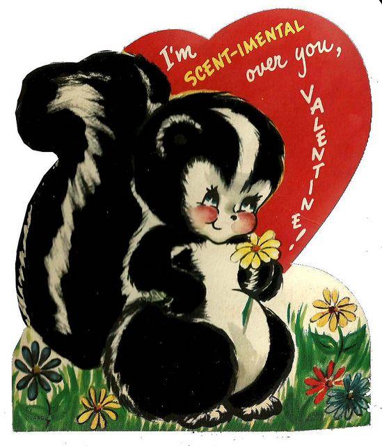 vintage skunk Valentine card