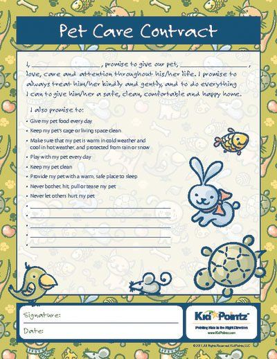 Pet Care Agreement  Teaching Children Kid Pointz  Great Quotes