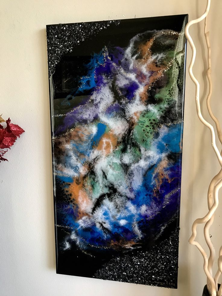 Beautiful 15x30 inch resin artwork on canvas with real