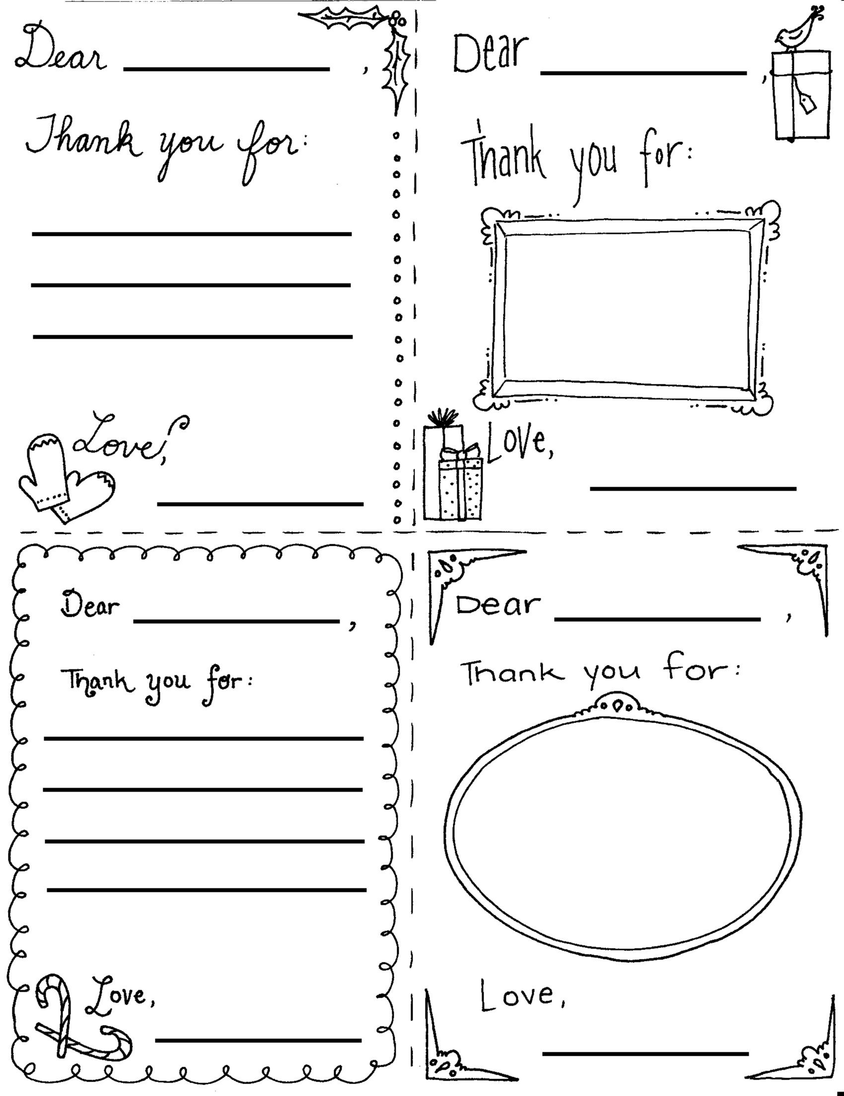 Christmas Thank You Cards Coloring Page Printable Thank You