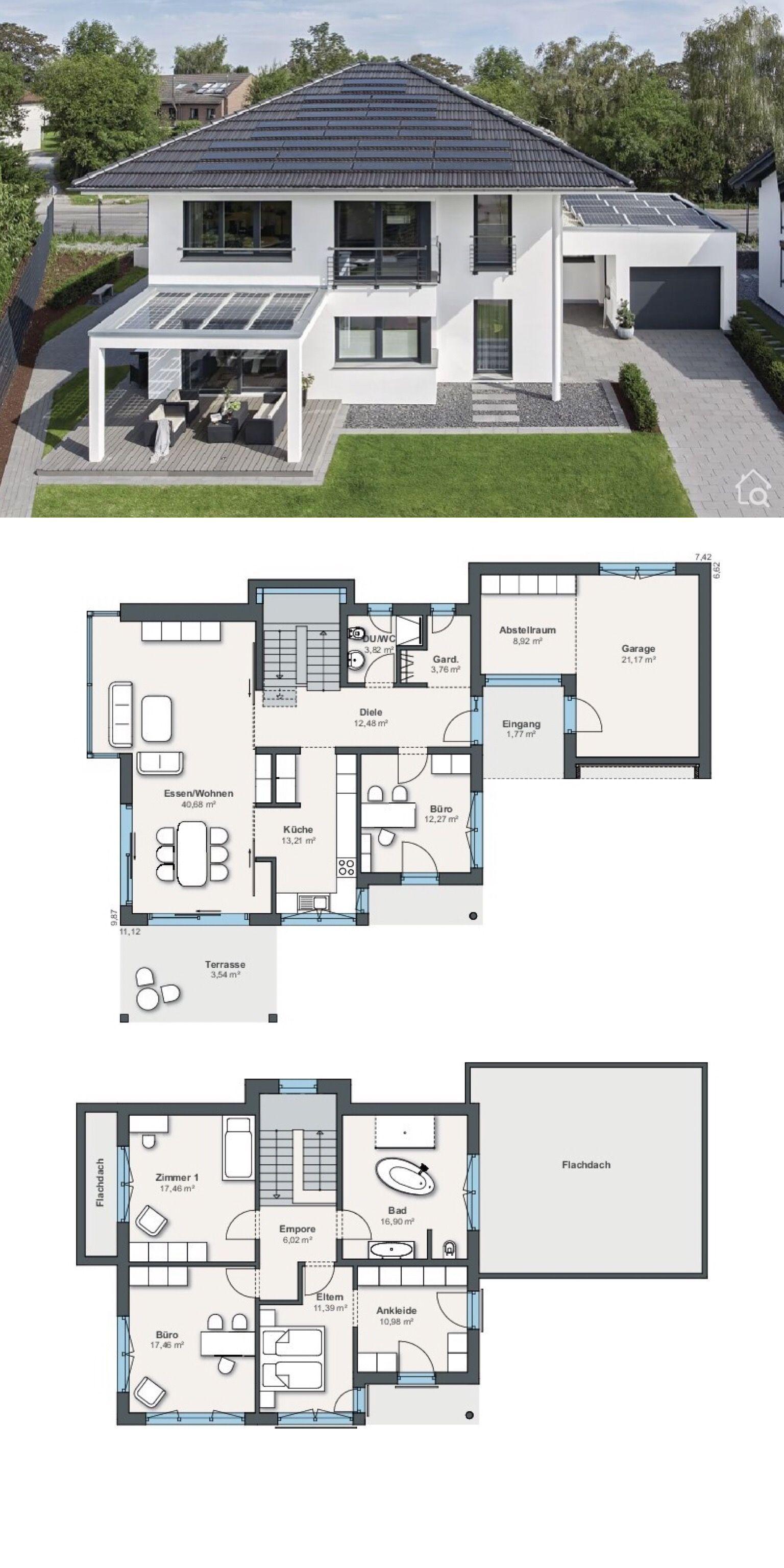 Stadtvilla Grundriss modern mit Garage & Walmdach