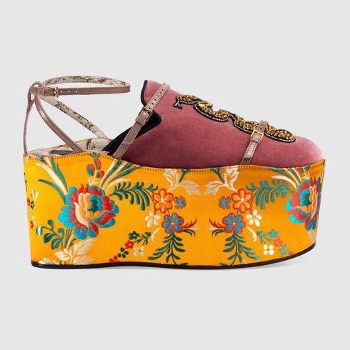 f6ff6ec3391 GUCCI Velvet Slipper With Removable Platform.  gucci  shoes  women s slides    mules