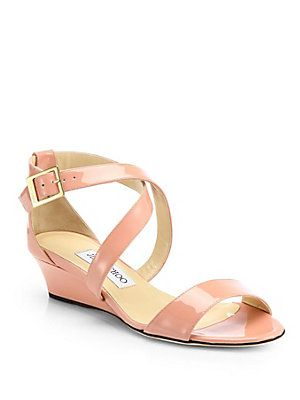 1cab0dad9803 Jimmy Choo Chiara Patent Leather Wedge Sandals