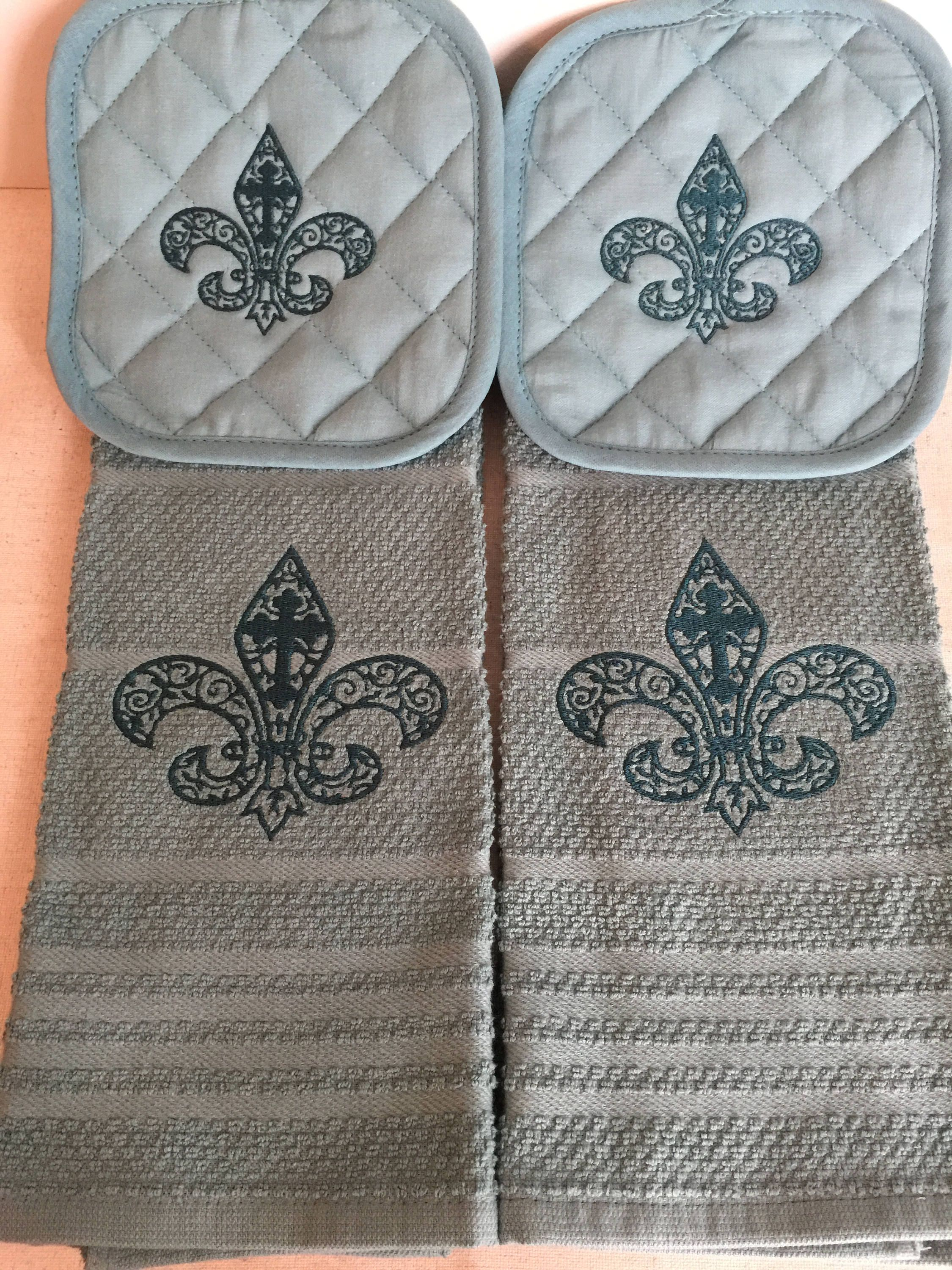 2 Embroidered Fleur De Lis Kitchen Towel And 2 Matching Pot