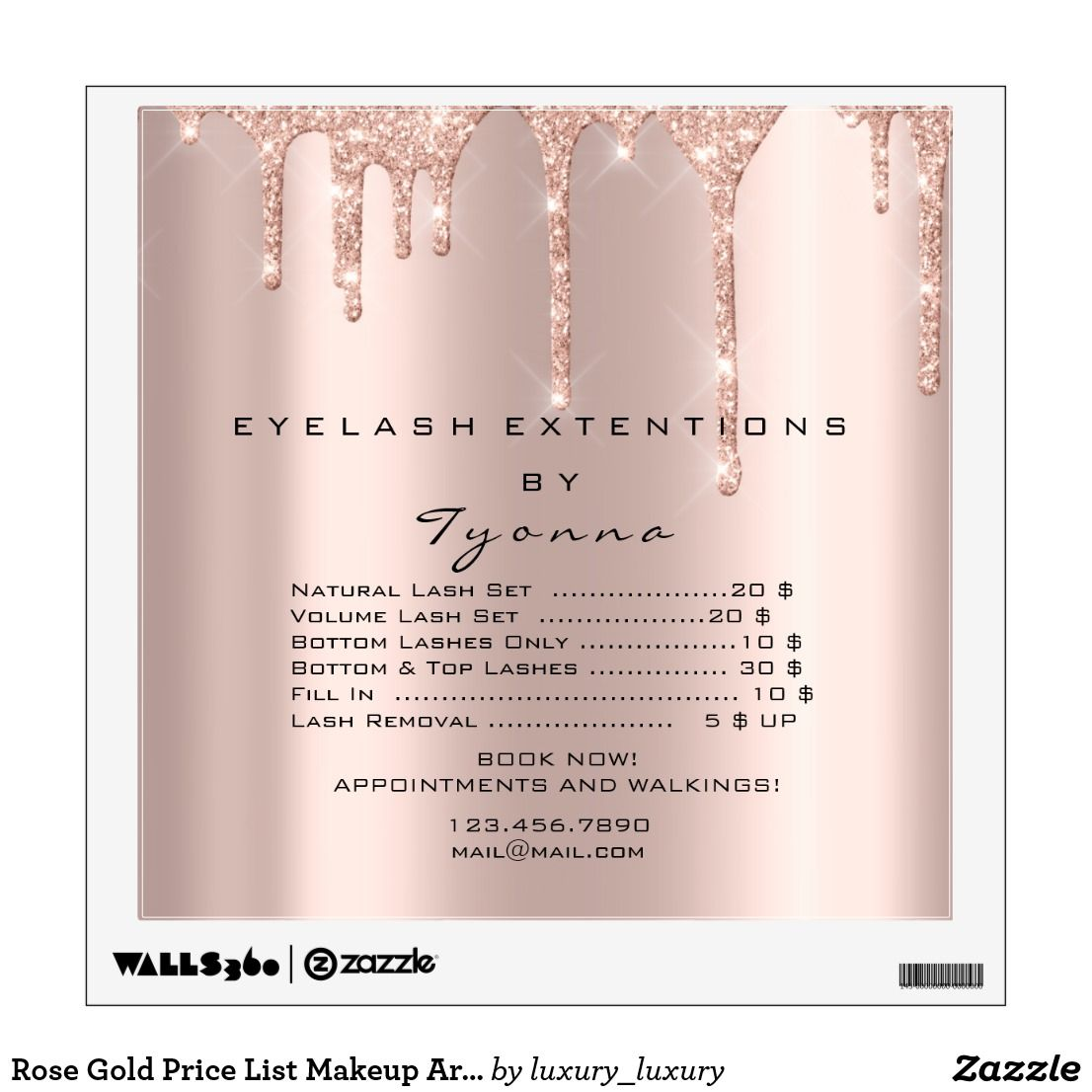 Rose Gold Price List Makeup Artist Lashe Extension Wall