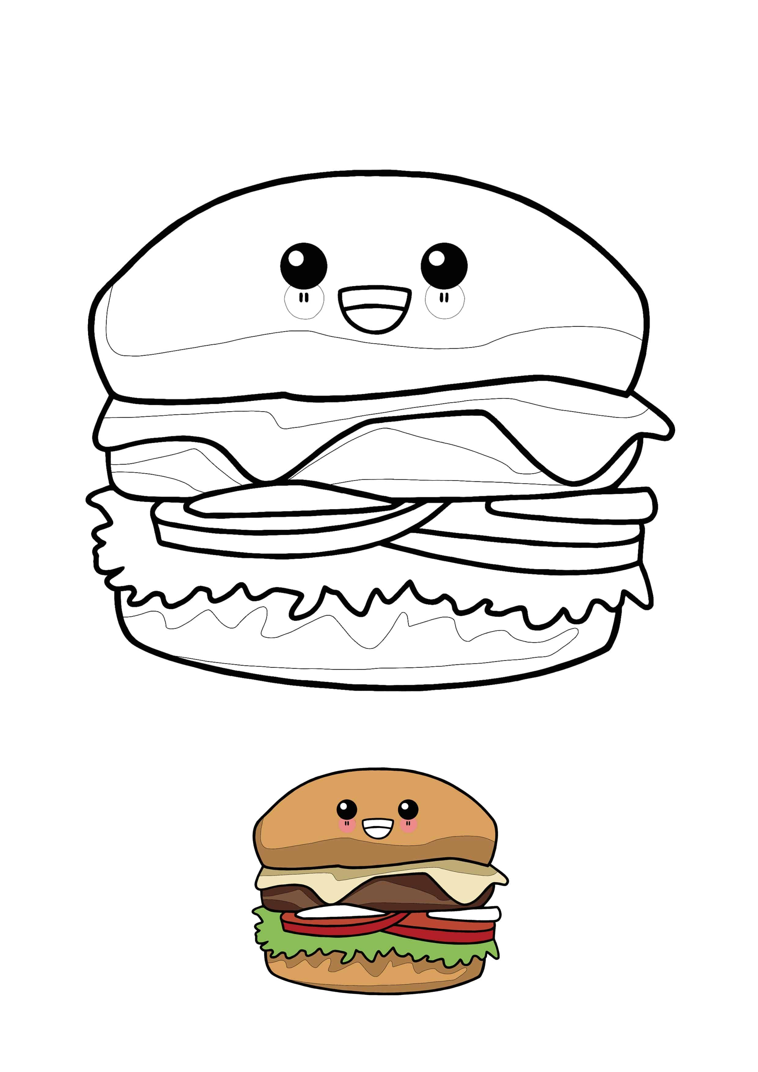 Double Decker Cheeseburger Junk Food Coloring Page Download Print Online Coloring Pages For Free Food Coloring Pages Super Coloring Pages Coloring Pages